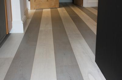 Stripe Corinium and White Stone Oak Istoria Bespoke Engineered Wood Flooring by Jordan Andrews